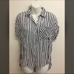 Forever 21 striped button down top shirt small